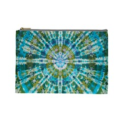 Green Flower Tie Dye Kaleidoscope Opaque Color Cosmetic Bag (large)  by Mariart