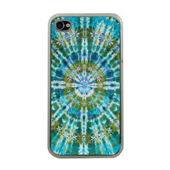 Green Flower Tie Dye Kaleidoscope Opaque Color Apple Iphone 4 Case (clear) by Mariart