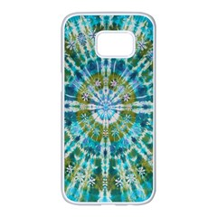 Green Flower Tie Dye Kaleidoscope Opaque Color Samsung Galaxy S7 Edge White Seamless Case by Mariart