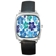 Hibiscus Flowers Green Blue White Hawaiian Square Metal Watch by Mariart