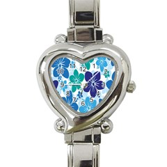 Hibiscus Flowers Green Blue White Hawaiian Heart Italian Charm Watch by Mariart