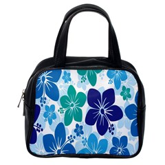 Hibiscus Flowers Green Blue White Hawaiian Classic Handbags (one Side) by Mariart