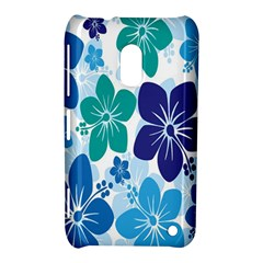 Hibiscus Flowers Green Blue White Hawaiian Nokia Lumia 620 by Mariart