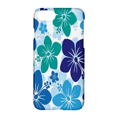 Hibiscus Flowers Green Blue White Hawaiian Apple Iphone 7 Hardshell Case by Mariart