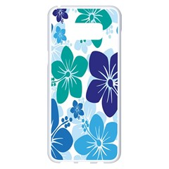 Hibiscus Flowers Green Blue White Hawaiian Samsung Galaxy S8 Plus White Seamless Case