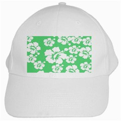 Hibiscus Flowers Green White Hawaiian White Cap by Mariart