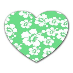 Hibiscus Flowers Green White Hawaiian Heart Mousepads by Mariart