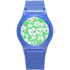 Hibiscus Flowers Green White Hawaiian Round Plastic Sport Watch (s) by Mariart