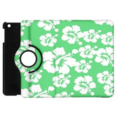 Hibiscus Flowers Green White Hawaiian Apple Ipad Mini Flip 360 Case by Mariart