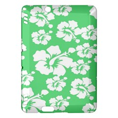 Hibiscus Flowers Green White Hawaiian Kindle Fire Hdx Hardshell Case by Mariart