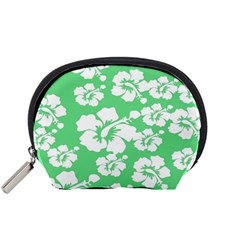 Hibiscus Flowers Green White Hawaiian Accessory Pouches (small)  by Mariart