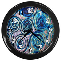 Green Blue Circle Tie Dye Kaleidoscope Opaque Color Wall Clocks (black) by Mariart