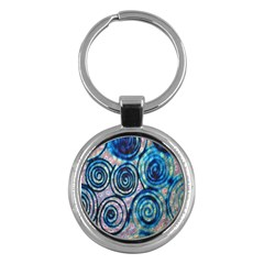 Green Blue Circle Tie Dye Kaleidoscope Opaque Color Key Chains (round)  by Mariart