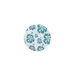 Hibiscus Flowers Green White Hawaiian Blue 1  Mini Buttons by Mariart