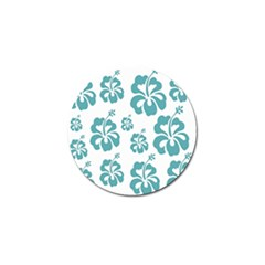 Hibiscus Flowers Green White Hawaiian Blue Golf Ball Marker (4 Pack) by Mariart