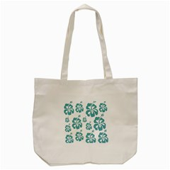 Hibiscus Flowers Green White Hawaiian Blue Tote Bag (cream) by Mariart