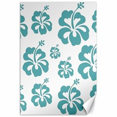 Hibiscus Flowers Green White Hawaiian Blue Canvas 20  X 30   by Mariart