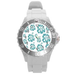 Hibiscus Flowers Green White Hawaiian Blue Round Plastic Sport Watch (l) by Mariart
