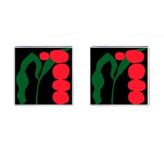 Illustrators Portraits Plants Green Red Polka Dots Cufflinks (square) by Mariart