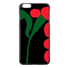 Illustrators Portraits Plants Green Red Polka Dots Apple Iphone 6 Plus/6s Plus Black Enamel Case by Mariart