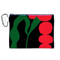 Illustrators Portraits Plants Green Red Polka Dots Canvas Cosmetic Bag (xl) by Mariart