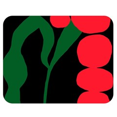 Illustrators Portraits Plants Green Red Polka Dots Double Sided Flano Blanket (medium)  by Mariart