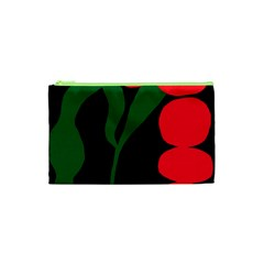 Illustrators Portraits Plants Green Red Polka Dots Cosmetic Bag (xs) by Mariart