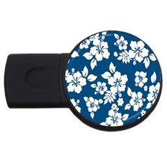 Hibiscus Flowers Seamless Blue White Hawaiian Usb Flash Drive Round (4 Gb) by Mariart