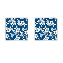 Hibiscus Flowers Seamless Blue White Hawaiian Cufflinks (square) by Mariart