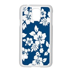 Hibiscus Flowers Seamless Blue White Hawaiian Samsung Galaxy S5 Case (white) by Mariart