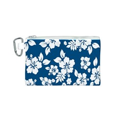 Hibiscus Flowers Seamless Blue White Hawaiian Canvas Cosmetic Bag (s) by Mariart