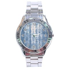 Indigo Grey Tie Dye Kaleidoscope Opaque Color Stainless Steel Analogue Watch by Mariart