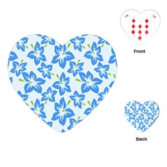 Hibiscus Flowers Seamless Blue Playing Cards (heart)  by Mariart