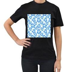 Hibiscus Flowers Seamless Blue Women s T-Shirt (Black)
