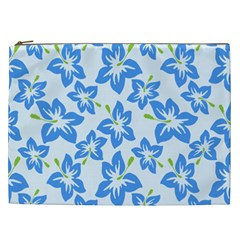 Hibiscus Flowers Seamless Blue Cosmetic Bag (xxl)  by Mariart