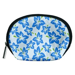 Hibiscus Flowers Seamless Blue Accessory Pouches (Medium)