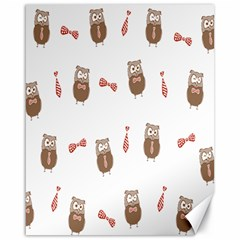 Insulated Owl Tie Bow Scattered Bird Canvas 16  X 20   by Mariart
