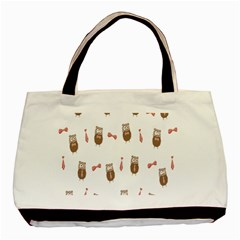 Insulated Owl Tie Bow Scattered Bird Basic Tote Bag (two Sides) by Mariart