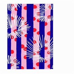 Line Vertical Polka Dots Circle Flower Blue Pink White Large Garden Flag (two Sides) by Mariart