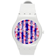 Line Vertical Polka Dots Circle Flower Blue Pink White Round Plastic Sport Watch (m) by Mariart