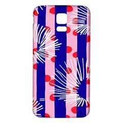 Line Vertical Polka Dots Circle Flower Blue Pink White Samsung Galaxy S5 Back Case (White)