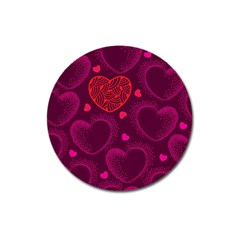 Love Heart Polka Dots Pink Magnet 3  (round) by Mariart