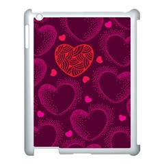 Love Heart Polka Dots Pink Apple Ipad 3/4 Case (white) by Mariart
