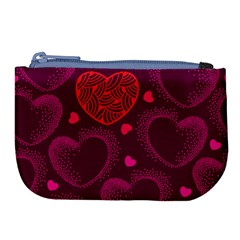 Love Heart Polka Dots Pink Large Coin Purse by Mariart