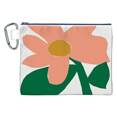Peach Sunflower Flower Pink Green Canvas Cosmetic Bag (xxl) by Mariart