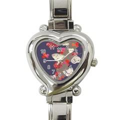 Original Butterfly Carnation Heart Italian Charm Watch by Mariart