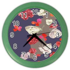 Original Butterfly Carnation Color Wall Clocks by Mariart