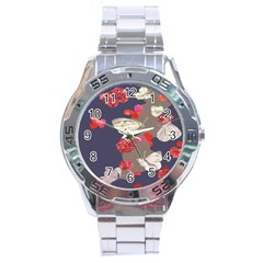 Original Butterfly Carnation Stainless Steel Analogue Watch by Mariart