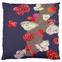 Original Butterfly Carnation Large Cushion Case (one Side) by Mariart