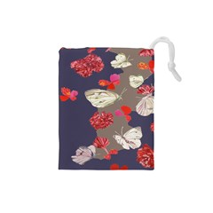 Original Butterfly Carnation Drawstring Pouches (small)  by Mariart